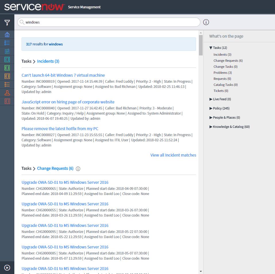 ServiceNow Service Management Module
