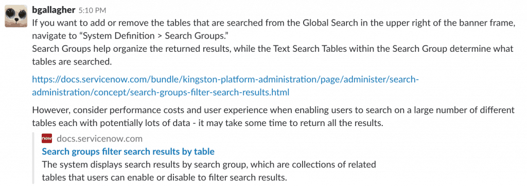 ServiceNow Search groups response screenshot