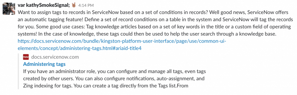 ServiceNow administering tags tip