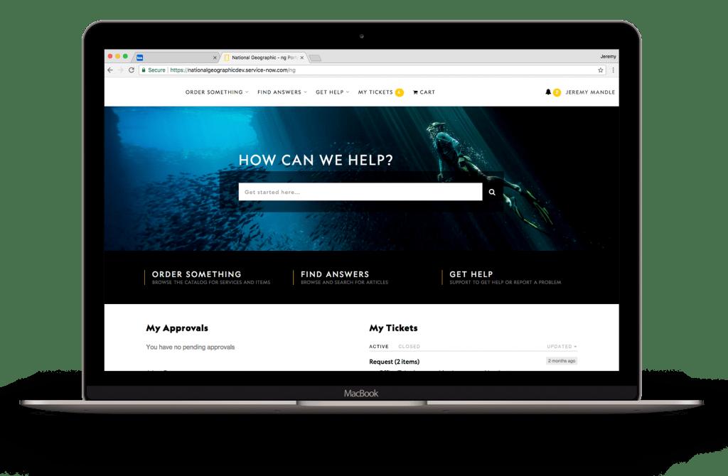 Blue UX Media Service Portal on Laptop