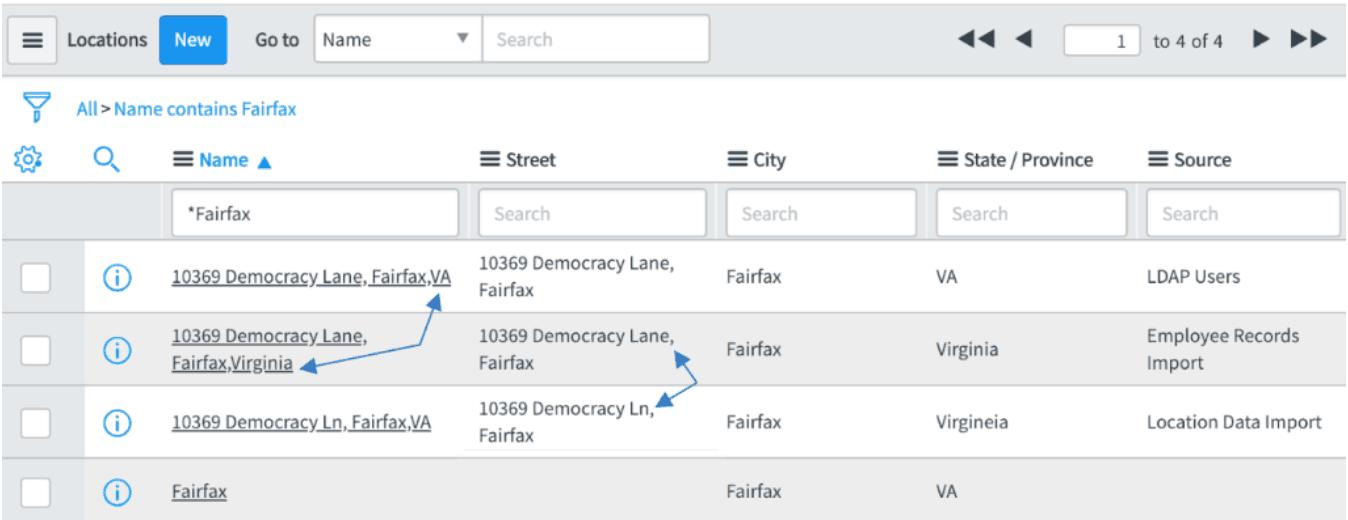 ServiceNow Locations Screenshot