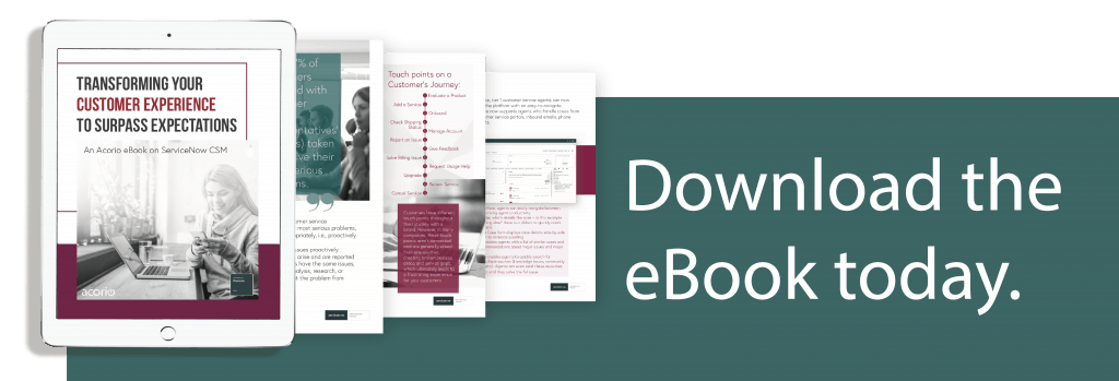 ServiceNow CSM eBook preview on tablet