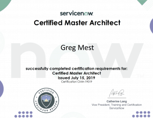 Greg Mest Certified Master Architect award
