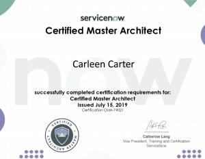 Carleen Carter Certified Master Architect award