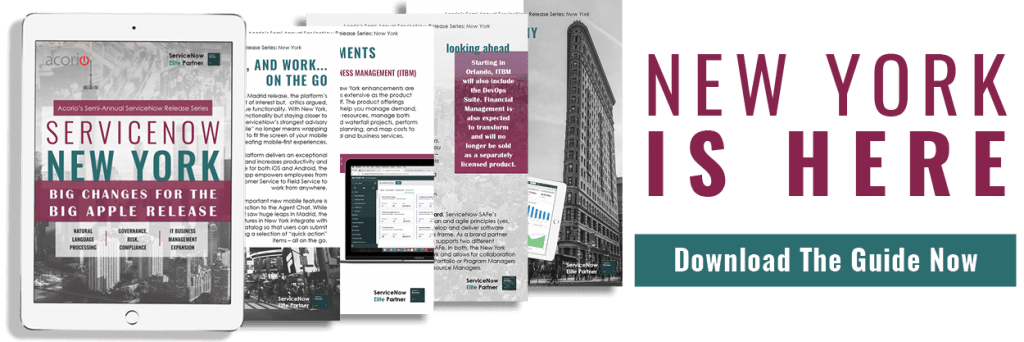 ServiceNow New York Release eBook preview on tablet
