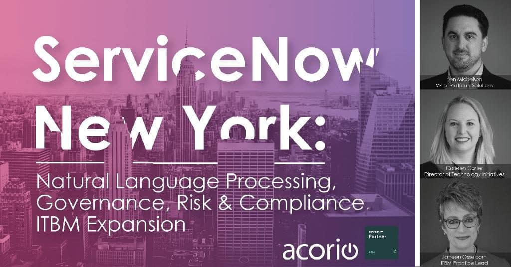 ServiceNow New York webinar slide