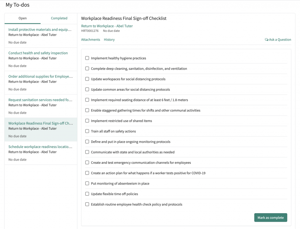 ServiceNow Return to Workplace Readiness Sign-off screenshot