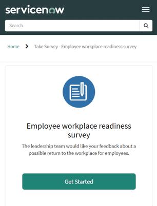 ServiceNow Employee workplace readiness survey