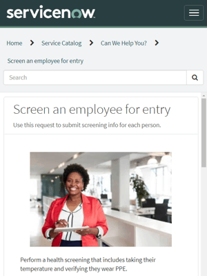 ServiceNow Employee Health Screening